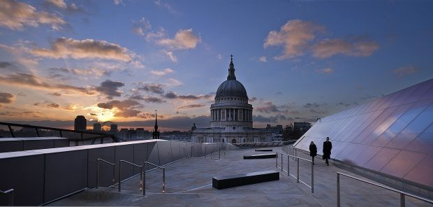 The One New Change roof terrace at dawn
