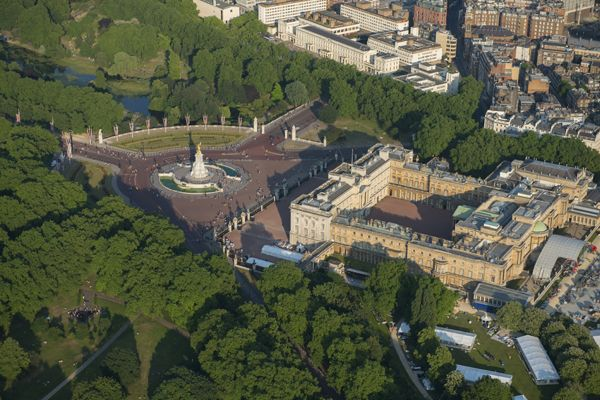 Buckingham Palace, the Queen's official residence in London, viewed from the air.