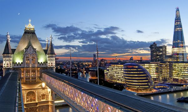 View from the top of Tower Bridge, London