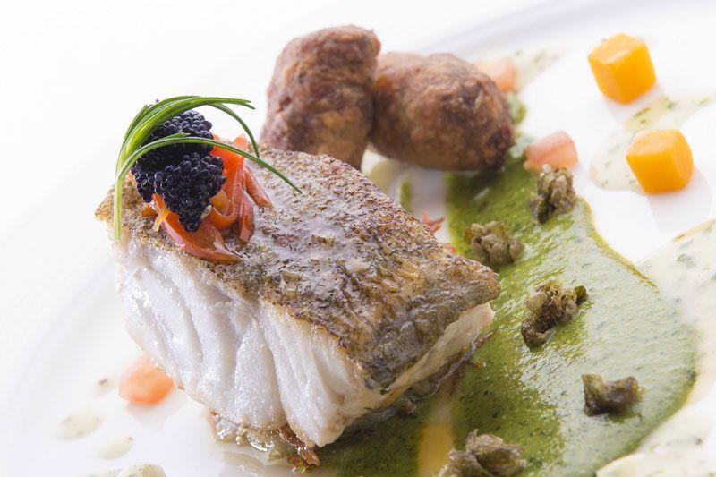 Mallaig cod, caper & pistachio pesto, local mussel, cucumber & shallot dressing at Kinloch Lodge