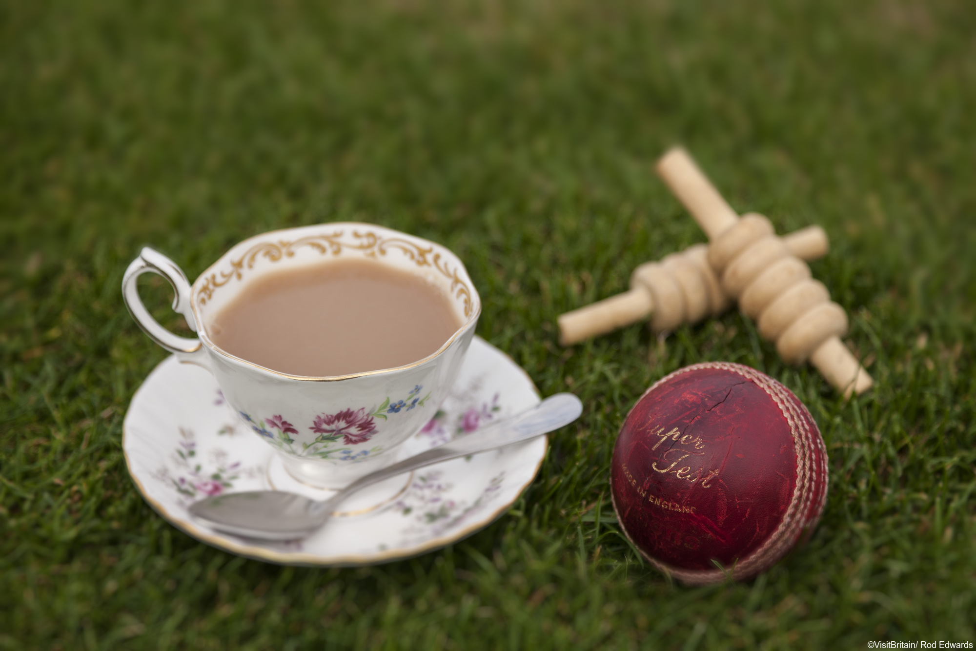 The tea interval at a cricket match at Wormsley Park, Buckinghamshire.
