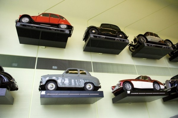 Cars covering the walls of Riverside Museum