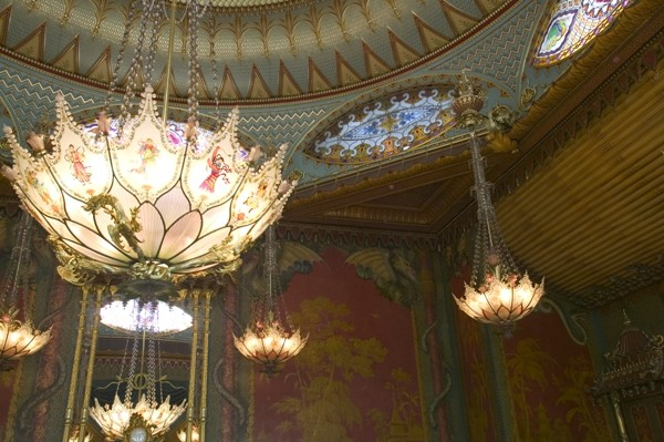 A picture of the interior of the Music Room in the Brighton Pavilion, Brighton, East Sussex, England