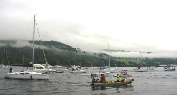 Flotilla escort on Lake Windermere