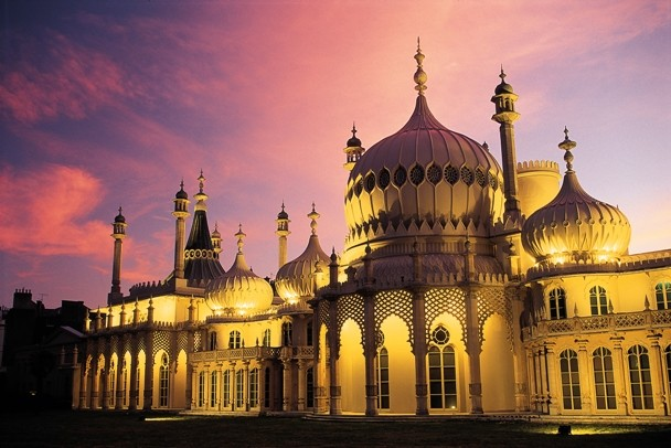 The Royal Pavilion at night, Brighton, East Sussex, England