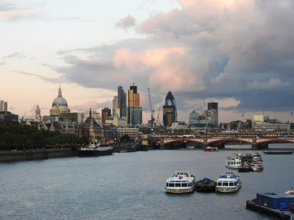 The City of London at sunset
