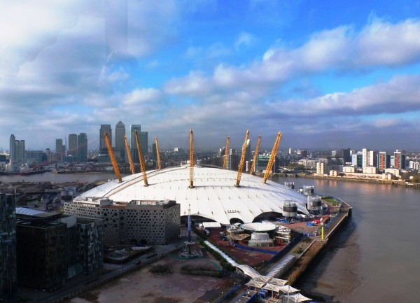 Canary Wharf and O2 Arena from Emirates Air Line