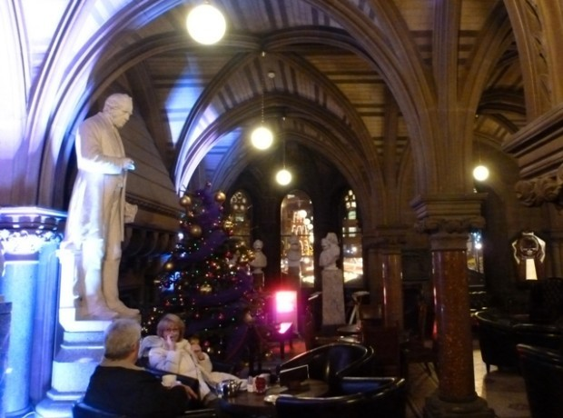 Manchester Town Hall cafe overlooking Christmas Market
