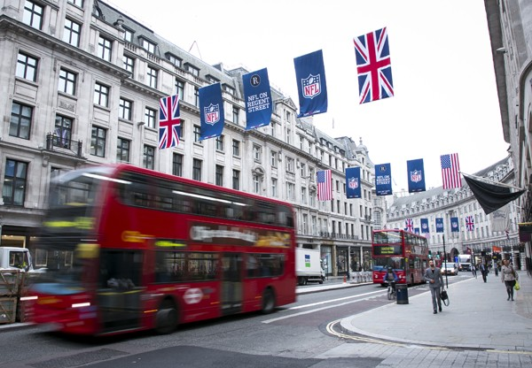 Flags on Regent Street for the NFL