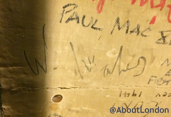 Prince William's signature on the ceiling at The Blue Bell Inn