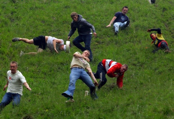 Participants in the Cheese Rolling Festival, UK