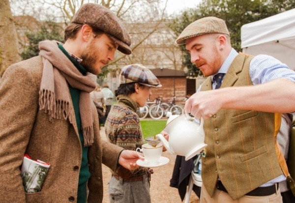 Attendees having a proper cup of tea at the London Tweed Run