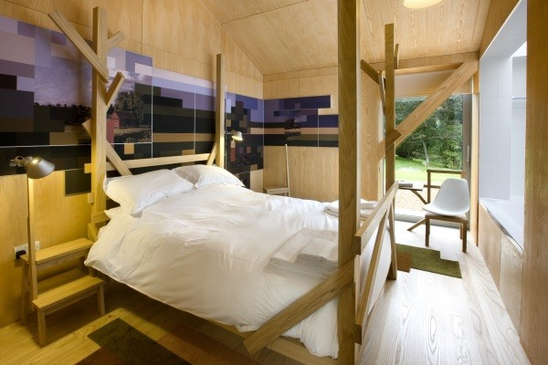 Bedroom in Living Architecture's Balancing Barn, Suffolk
