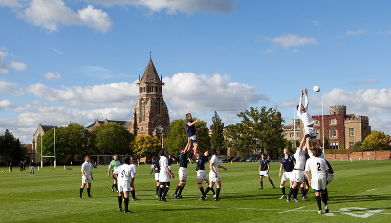 Rugby match at Rugby School, England