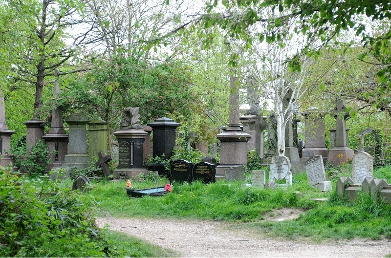 Grave stones in beautiful woodland, Abney Park Cemetery, Stoke Newington.