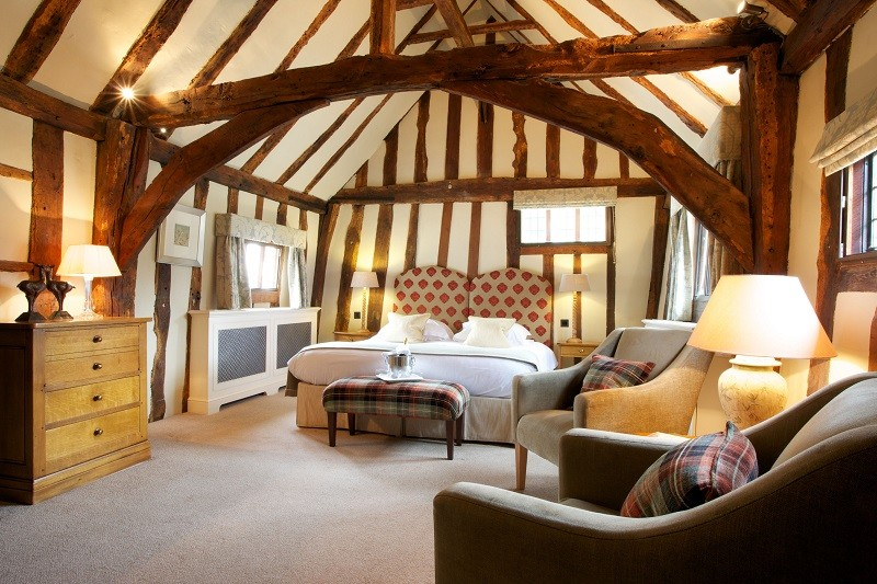 Oak-beamed double bedroom at The Swan at Lavenham Hotel & Spa, Suffolk.
